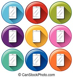 Rounded icons with cellular phones