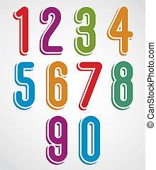 Rounded numbers set, vector collection.