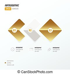 Rounded rectangles infographic Golden style