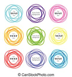 Rounded shapes labels. Vector colored overlapping rounds icons with text