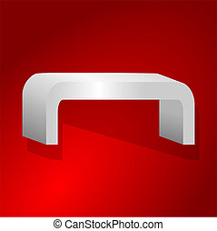 Rounded shelves on a red background