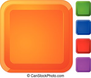 Rounded square button, banner in 5 color with highlight effect