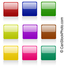 Isolated white background rounded square web 2.0 buttons glow glossy label.