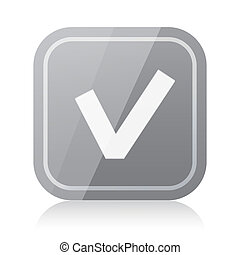 Rounded square check mark icon with reflection