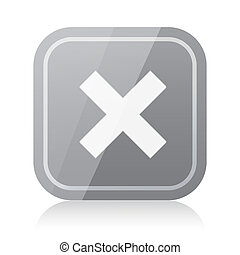 Rounded square cross icon with reflection