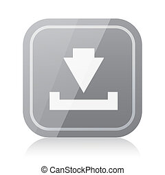 Rounded square download icon with reflection