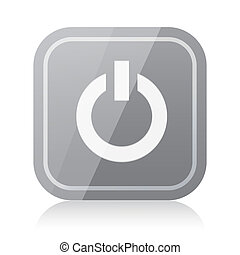 Rounded square power icon with reflection