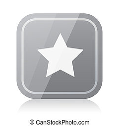 Rounded square star icon with reflection