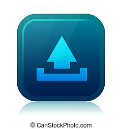 Rounded square upload icon with reflection