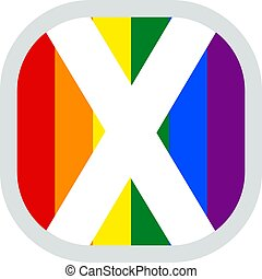 Scottish LGBT Rainbow flag, rounded square shape icon on white background, vector illustration