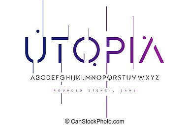 Rounded stencil san serif, alphabet, uppercase letters, ...
