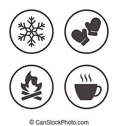 rounded, vinter, iconerne, enkel, sæson, set., vektor, vejr, design., ikon