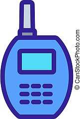 rounded walkie-talkie icon vector outline illustration