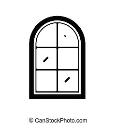 Rounded window black icon, concept illustration, vector flat symbol, glyph sign.
