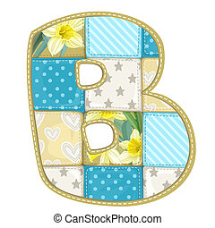 Roundish Font from quilted from multi-colored a blanket rag - letter B