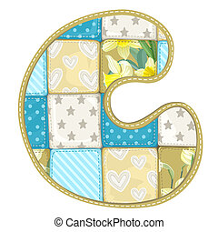 Roundish Font from quilted from multi-colored a blanket rag - letter C