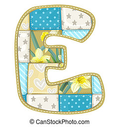 Roundish Font from quilted from multi-colored a blanket rag - letter E
