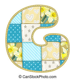 Roundish Font from quilted from multi-colored a blanket rag - letter G