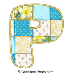 Roundish Font from quilted from multi-colored a blanket rag - letter P