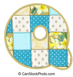 Roundish Font from quilted from multi-colored a blanket rag - letter Q