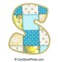 Roundish Font from quilted from multi-colored a blanket rag - letter S