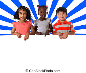 roup of multiracial kids portrait with white board.Isolated