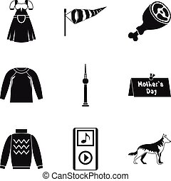 roupa, ícone, jogo, simples, estilo