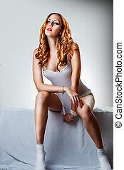 roupa interior, excitado, branca, mulher, algodão