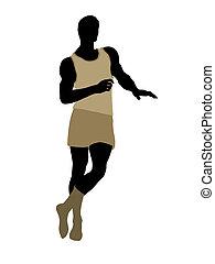 roupa interior, macho, silueta, modelo