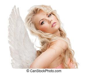 roupa interior, menina, asas anjo