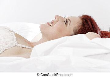 roupa interior, mulher, mentindo, cama