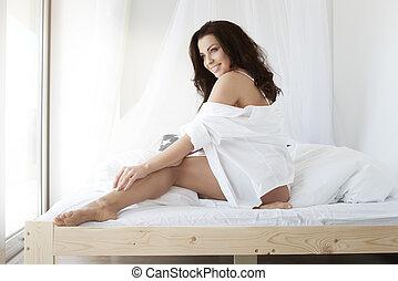 roupa interior, mulher, quarto