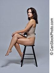 roupa interior, sentando, chair., mulher, bonito