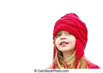 roupa, inverno, criança