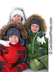 roupa, inverno, crianças
