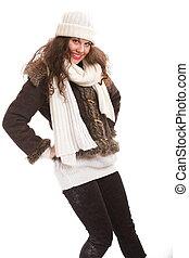 roupa, morno, mulher, moda, inverno