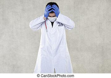 roupa, seu, doutor principal, agarramentos, protetor