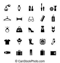 roupa, sortimento, acessório, pretas, ícones