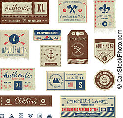 roupa vintage, etiquetas