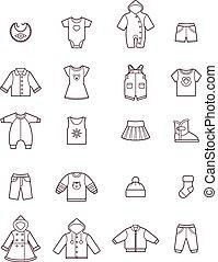 roupas bebê, ícone, jogo