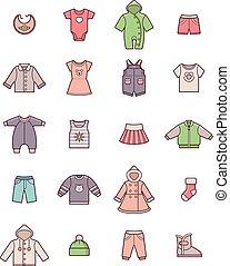 roupas bebê, jogo, ícone