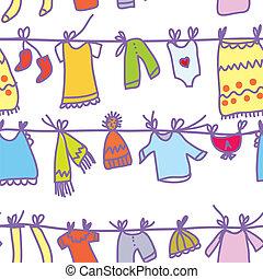 roupas bebê, jogo, seamless, padrão, -, engraçado, desenho
