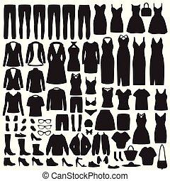 roupas, cobrança, camisa, silueta, vestido, calças brim, sapatos, mulheres, casaco, moda