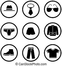 roupas, homens, jogo, ícone