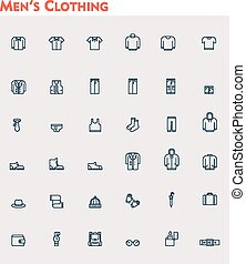roupas, homens, jogo, linear, ícone