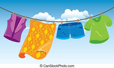 roupas, ligado, lavando linha