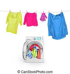 roupas, ligado, um, corda, com, um, lavadora roupa