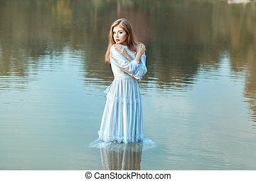 roupas, menina, molhado, lago, water.