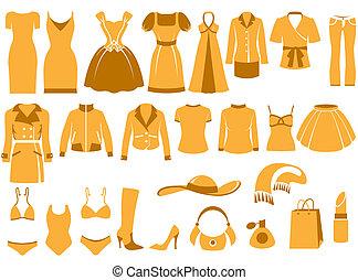 roupas, mulher, ícones