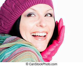 roupas, mulher, morena, sorrindo, outono